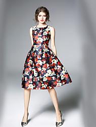 Недорогие -Жен. Офис Уличный стиль А-силуэт С летящей юбкой Платье С принтом Средней длины