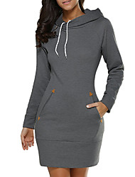 cheap -Women's Going out Casual Street chic Hoodie Solid Hooded Inelastic Cotton Long Sleeve Winter Fall