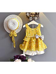 abordables -Ensemble de Vêtements Fille Quotidien Couleur Pleine Coton Fibre de bambou Printemps Sans Manches Décontracté Rose Claire Jaune