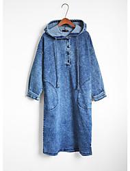 economico -Jeans Vestito Quotidiano Casual Tinta unita Con cappuccio Medio Maniche lunghe Cotone Autunno A vita medio-alta Media elasticità Sottile