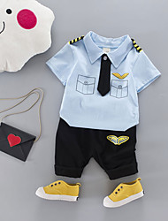 cheap -Boys' Daily School Print Cartoon Clothing Set,Cotton All Seasons Short Sleeve Cute Casual Active Light Blue Yellow Gray Blushing Pink