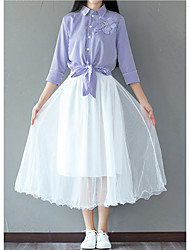 cheap -Women's Going out Simple Autumn/Fall Summer Blouse Skirt Suits,Solid Shirt Collar 3/4 Length Sleeves Cotton Polyester