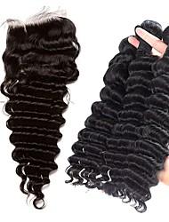 Недорогие -Бразильские волосы Крупные кудри Волосы Уток с закрытием 4 Связки Ткет человеческих волос Черный