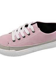 Недорогие -Обувь Полиуретан Весна Удобная обувь Кеды На плоской подошве Круглый носок для Повседневные Черный Военно-зеленный Розовый
