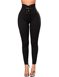 cheap -Women's High Rise Micro-elastic Skinny Slim Pants, Simple Street chic Solid Polyester Spring Fall