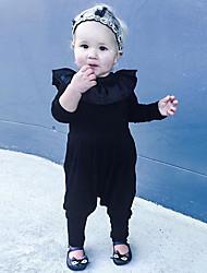 abordables -bébé Une-Pièce Fille Quotidien Couleur Pleine Coton Lin Fibre de bambou Acrylique Printemps Manches courtes simple Noir Jaune