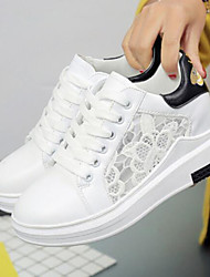 cheap -Women's Shoes Lace Summer Comfort Sneakers Flat Heel Closed Toe for Casual Outdoor White Black