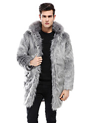 cheap -Men's Daily Casual Winter Fall Fur Coat,Solid Hooded Long Sleeve Long Faux Fur