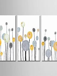 baratos -Pintados à mão Abstrato Vertical, Contemprâneo Simples Modern Tela de pintura Pintura a Óleo Decoração para casa 3 Painéis