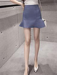 preiswerte -Damen Freizeit Alltag Mini Röcke A-Linie,Baumwolle Solide Sommer