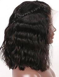 Недорогие -Натуральные волосы Бесклеевая сплошная кружевная основа / Полностью ленточные Парик Бразильские волосы Волнистый Парик С пушком 130% Природные волосы / Прямой пробор / 100% девственница Жен.