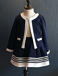 cheap -Girls' Daily Going out Striped Patchwork Clothing Set,Rayon Spring Fall Long Sleeve Casual Street chic Navy Blue
