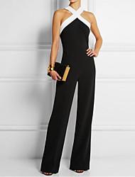 cheap -Women's Sophisticated Cotton Jumpsuit - Color Block Halter