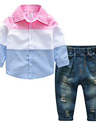 cheap -Boys' Daily Sports Solid Clothing Set,Cotton Linen Bamboo Fiber Acrylic Spring Short Sleeve Simple Vintage Blushing Pink