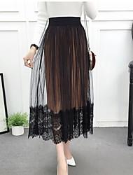 cheap -Women's Daily Midi Skirts,Casual Swing Linen Print Autumn/Fall