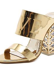 preiswerte -Damen Schuhe Kunstleder Frühling Sommer Modische Stiefel Neuheit Komfort Sandalen Kristallabsatz für Hochzeit Gold Schwarz
