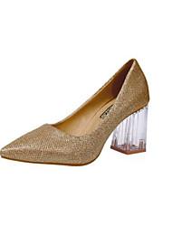 preiswerte -Damen Schuhe PU Frühling / Herbst Komfort High Heels Blockabsatz Spitze Zehe / Geschlossene Spitze Gold / Silber
