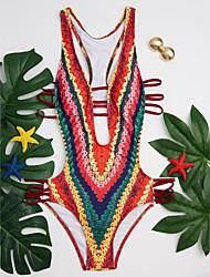 cheap -Women's Print Floral Color Block Straped Monokini Swimwear Rainbow