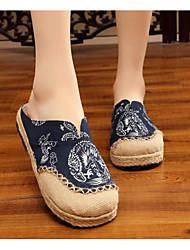 cheap -Women's Shoes Linen Spring / Fall Comfort Clogs & Mules Low Heel Blue