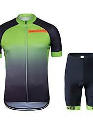 cheap -Cycling Jersey with Shorts Unisex Short Sleeves Bike Clothing Suits Bike Wear Quick Dry Geometric Cycling / Bike Black/Green