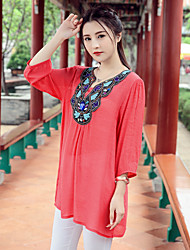 cheap -Women's Casual/Daily Chinoiserie T-shirt,Embroidery V Neck ¾ Sleeve Cotton Linen