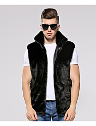 cheap -Men's Going out Casual/Daily Street chic Fall Winter Vest,Solid Shirt Collar Sleeveless Regular Faux Fur