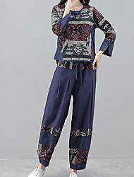 abordables -Mujer Un Color Noche Simple Pantalón Escote Redondo Invierno Manga Larga