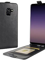 abordables -Funda Para Samsung Galaxy A8 2018 A8 Plus 2018 Soporte de Coche Flip Funda de Cuerpo Entero Color sólido Dura Cuero de PU para A8+ 2018