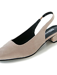 cheap -Women's Shoes Nubuck leather PU Suede Spring Fall Comfort Heels Low Heel Square Toe for Casual Beige Black