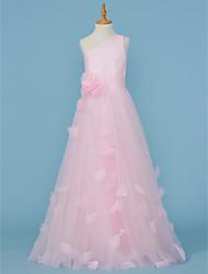 abordables -Corte en A Princesa Un Hombro Hasta el Suelo Tul Vestido de Dama de honor junior       con Apliques Plisado Flor por LAN TING BRIDE®