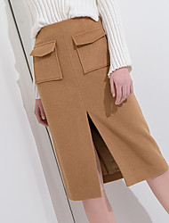 cheap -Women's Going out Pencil Skirts - Solid Colored