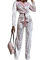 abordables -Mujer Terciopelo Conjunto - Un Color Escote en Pico Alta cintura Pantalón