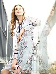 cheap -FRMZ Women's Cute Active Flare Sleeve Chiffon Dress - Floral V Neck