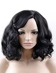 Недорогие -Парики из искусственных волос Kinky Curly Искусственные волосы Черный Парик Жен. Средние Без шапочки-основы
