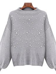 Недорогие -Жен. Сплошной цвет Пуловер, Повседневные Длинный рукав Круглый вырез Шерсть Хлопок Весна