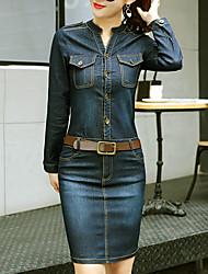 economico -Fodero Jeans Vestito Da donna-Casual Ufficio Semplice Moda città Sofisticato Tinta unita Girocollo Sopra il ginocchio Manica lunga