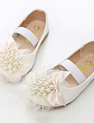 cheap -Girls' Shoes PU Spring Fall Flower Girl Shoes Novelty Flats Rivet Gore for Party & Evening Dress White Pink