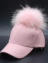 Недорогие -Жен. На каждый день Лыжная шапочка Бейсболка Шляпа от солнца,Зима Осень Полиуретановая Мех енота Однотонный Стильные Черный Красный