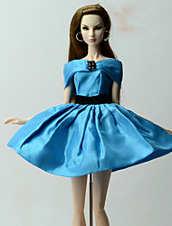 baratos -Vestidos Vestir Para Boneca Barbie Azul Vestido Para Menina de Boneca de Brinquedo