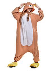 abordables -Pyjamas Kigurumi Ours Combinaison de Pyjamas Costume Polaire Orange Cosplay Pour Adulte Pyjamas Animale Dessin animé Halloween Fête /