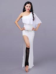 abordables -Danse du ventre Robes Femme Entraînement Utilisation Modal Tulle Fendue Sans Manches Taille basse Robe Short