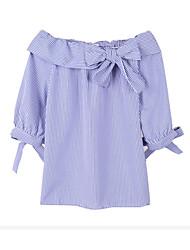 abordables -Mujer Camisa, Cuello de Peter Pan A Rayas Algodón