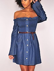 cheap -Women's Daily Going out Sexy Denim Above Knee Dress, Solid Color Strapless Long Sleeves Winter Fall