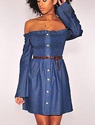 abordables -Femme Toile de jean Robe Couleur unie Sans Bretelles