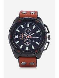 Недорогие -SHI WEI BAO Муж. Наручные часы Модные часы Спортивные часы Китайский Кварцевый Календарь Кожа Группа На каждый день Черный Коричневый