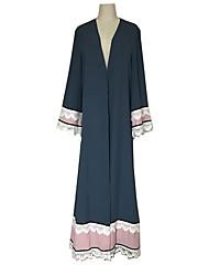 Недорогие -Арабское платье Абайя Жен. Мода Фестиваль / праздник Инвентарь Синий Однотонный