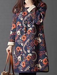abordables -Femme Ample Tunique Robe - Imprimé, Fleur Mini