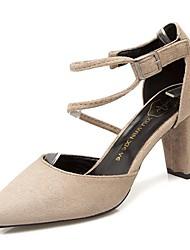 cheap -Women's Shoes Nubuck leather / PU Spring / Fall Comfort Heels Block Heel Pointed Toe Black / Gray / Khaki
