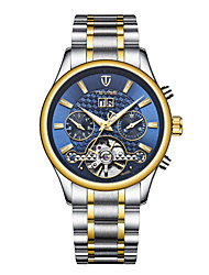 baratos -Tevise Homens Relógio Casual Chinês Automático - da corda automáticamente Calendário Impermeável Noctilucente Aço Inoxidável Banda Luxo