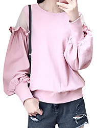 cheap -Women's Plus Size Casual/Daily Street chic Sweatshirt Solid Round Neck Without Lining Stretchy Polyester Long Sleeve Fall/Autumn
